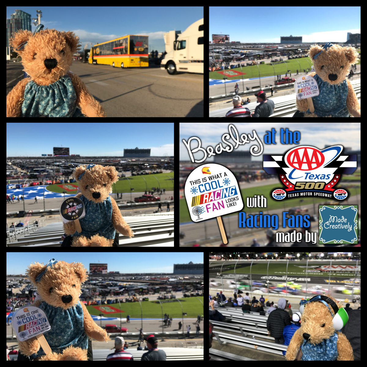 Beasley at the AAA Texas 500 Race with Racing Fans made by ItsMadeCreatively!